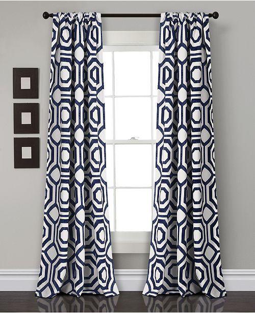 "Lush Decor Octagon Blocks Room Darkening Window Curtain Set, 84"" x 52"""