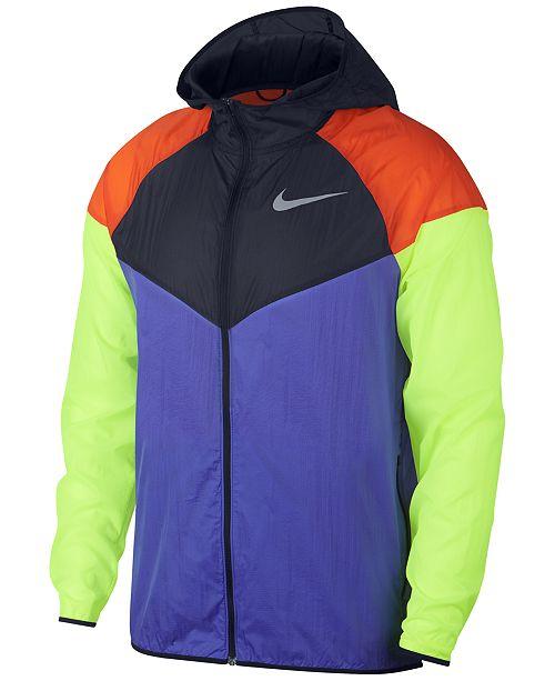 Nike Men s Colorblocked Water-Repellent Windrunner Jacket - Coats ... 931d4a05b