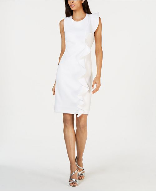 81c98b6d00ab1 Calvin Klein Ruffled Sleeveless Sheath Dress - Dresses - Women - Macy s