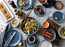 Royal Doulton Exclusively for Maze Grill Hammered Blue Dinnerware Collection