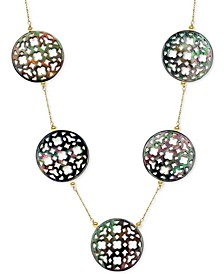 """Black Mother of Pearl (30mm) Cutout Disc 18"""" Chain Necklace in 14k Gold"""