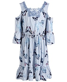 Epic Threads Toddler Girls Butterfly-Print Cold-Shoulder Dress, Created for Macy's