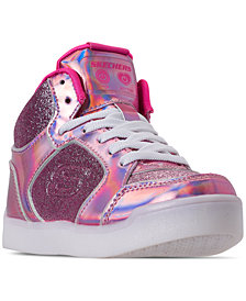 Skechers Little Girls' S Lights: Energy Lights - Ultra Glitzy Glow High Top Light Up Casual Sneakers from Finish Line