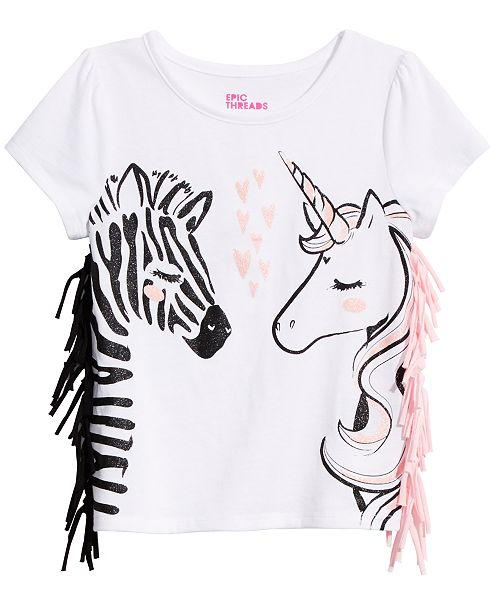 Epic Threads Toddler Girls Fringe-Trim T-Shirt, Created for Macy's