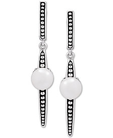 Cultured Freshwater Button Pearl (7mm) Drop Earrings in Sterling Silver