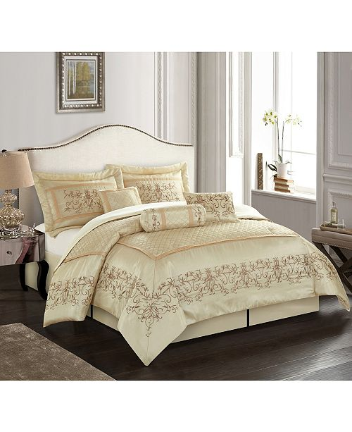 Nanshing Vivian 7-Piece Comforter Set, Beige, California King