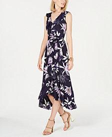 Vince Camuto Printed High-Low Midi Dress
