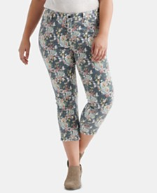 Lucky Brand Plus Size Lolita Floral-Print Skinny Jeans