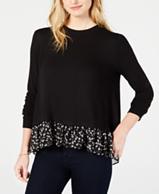 Maison Jules Layered-Look Sweater, Created for Macy's