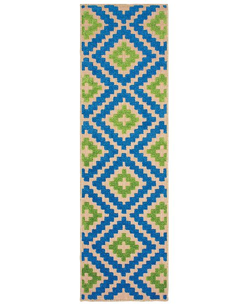 "Oriental Weavers Cayman 2063Z Sand/Blue 2'3"" x 7'6"" Indoor/Outdoor Runner Area Rug"