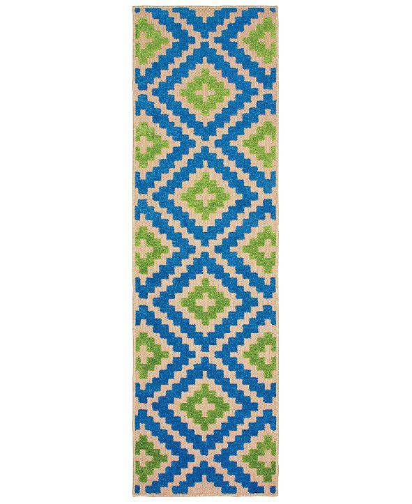 """Oriental Weavers Cayman 2063Z Sand/Blue 2'3"""" x 7'6"""" Indoor/Outdoor Runner Area Rug"""