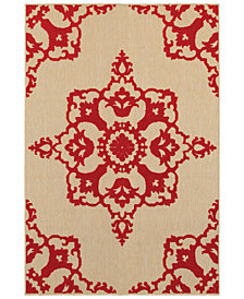 "Oriental Weavers Cayman 097R9 Sand/Red 1'10"" x 3'3"" Indoor/Outdoor Area Rug"
