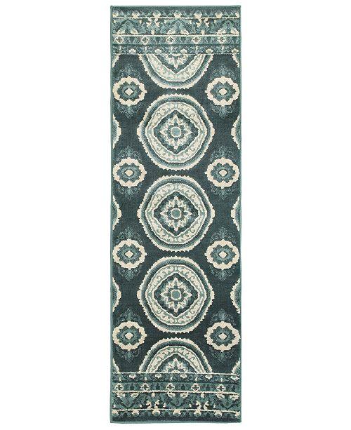 "Oriental Weavers CLOSEOUT!  Jayden 7415B Blue/Ivory 2'3"" x 7'6"" Runner Area Rug"