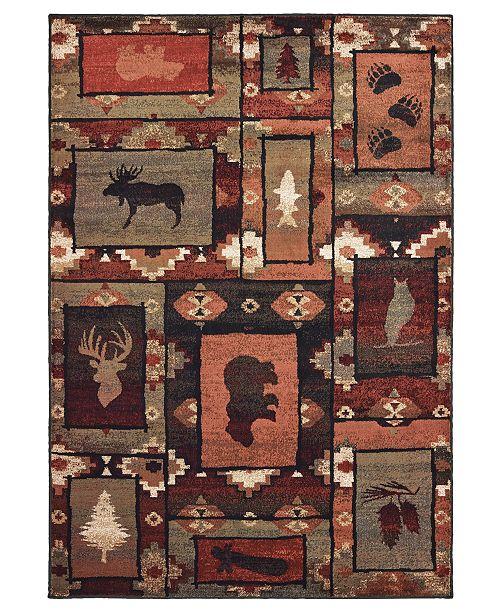 """Oriental Weavers Woodlands 9601D Brown/Rust 6'7"""" x 9'2"""" Area Rug"""