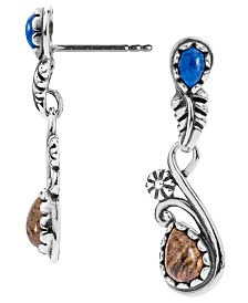 American West Lapis and Picture Jasper Leaf Earrings in Sterling Silver