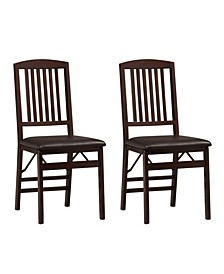 Triena Mission Folding Chair, Set of 2