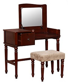 Wyndham Vanity Set with Flip Up Mirror and Bench