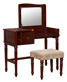 Wyndham Vanity Set with Flip Up Mirror and Bench