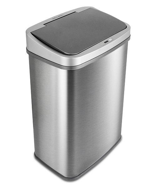 NINE STARS GROUP USA INC Nine Stars 13.2 Gallon Stainless Steel Sensor Trash Can with Gun Metal Trim