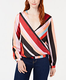 Bar III Striped Surplice Blouse, Created for Macy's