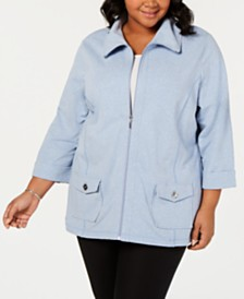 Karen Scott Plus Size 3/4-Sleeve Jacket, Created for Macy's
