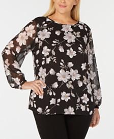 058beb3577e Nine West Plus Size Floral-Print Long-Sleeve Blouse