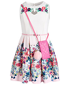 Beautees Big Girls Floral-Border Skater Dress & Purse