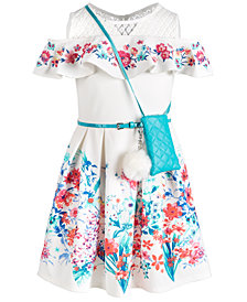 Beautees Big Girls Floral-Print Cold-Shoulder Dress