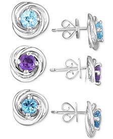 Multi-Gemstone (2-1/2 ct. t.w.) 3-Piece Set Knot Stud Earrings  in Sterling Silver