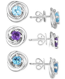 Multi-Gemstone (2-1/2 ct. t.w.) 3-Piece Set Knot Stud Earrings  in Sterling Silver