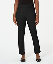 Karen Scott Pull-On Flat-Front Pants, Created for Macy's