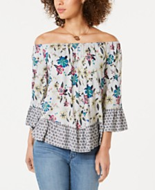 Style & Co Printed Off-The-Shoulder Top, Created for Macy's