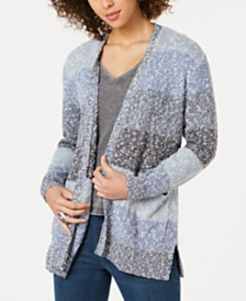 Style & Co Striped Textured Cardigan Sweater, Created for Macy's