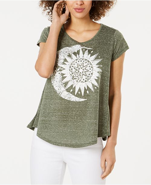 Style & Co Petite Scoop-Neck Graphic T-Shirt, Created for Macy's