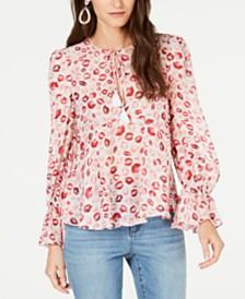 Rachel Zoe Bria Silk Lip-Print Top
