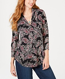 Charter Club Pleated V-Neck Paisley Knit Shirt, Created for Macy's