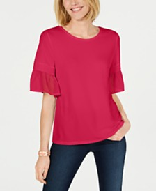 Charter Club Ruffle-Sleeve Top, Created for Macy's