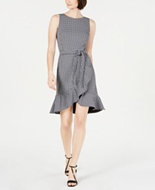 Calvin Klein Belted Gingham Ruffle Dress
