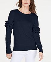 MICHAEL Michael Kors Cotton Ruffle-Sleeve Sweater, Regular   Petite Sizes 9f3563155ca