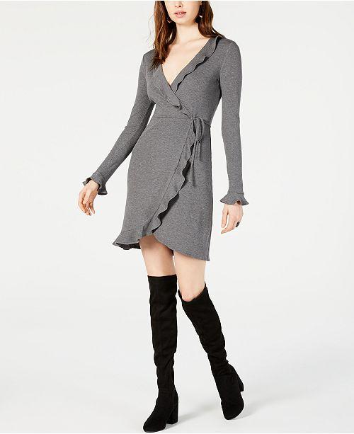 Bar III Ribbed Wrap Dress, Created for Macy's