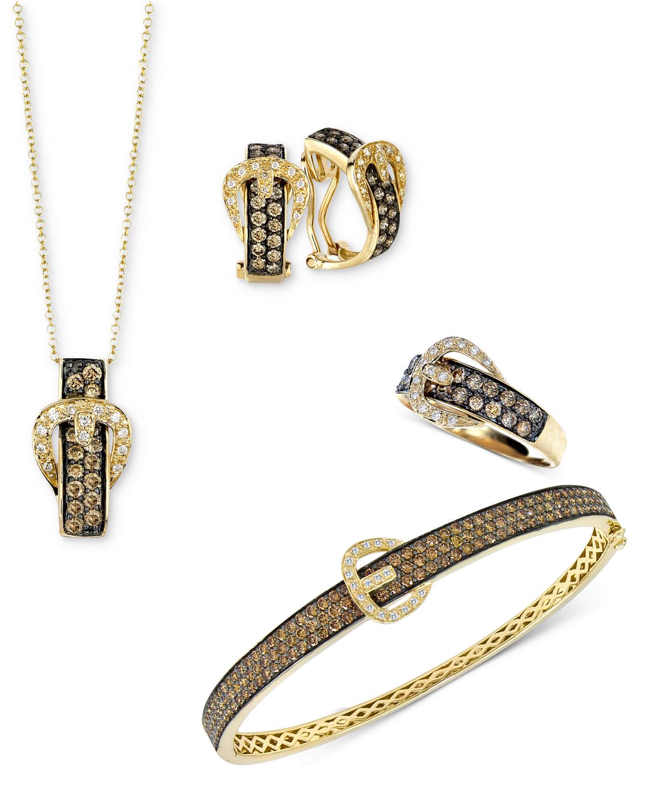 Le Vian Jewelry Chocolate Diamond Buckle Jewelry Ensemble In 14k Gold   Jewelry & Watches  Macy's