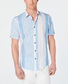 Alfani Men's Stretch Alvin Large Stripe Short Sleeve Shirt, Created for Macy's