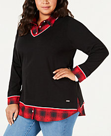 Tommy Hilfiger Plus Size Two-Piece Sweater, Created for Macy's