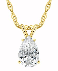 Certified Pear Shape Diamond Solitaire Pendant Necklace (3/4 ct. t.w.) in 14k White Gold or Yellow Gold