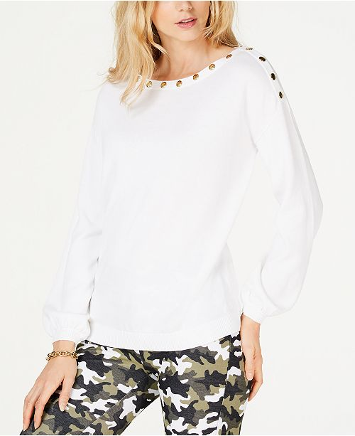 Michael Kors Button-Embellished Blouson Sleeve Sweater