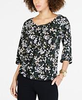 66f8b95a98647 MICHAEL Michael Kors Floral-Print 3 4-Sleeve Top