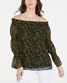 MICHAEL Michael Kors Smocked Off-The-Shoulder Top