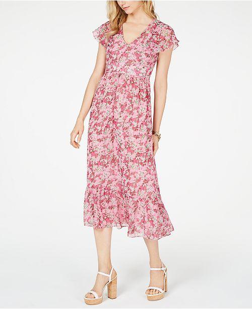 fe421ca9b51e6 ... Michael Kors Enchanted Blooms Midi Dress, Regular & Petite Sizes ...