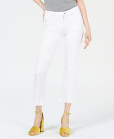 M1858 Lucy Cropped Frayed-Hem Jeans