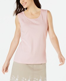 Karen Scott Petite Cotton Embellished Tank Top, Created for Macy's